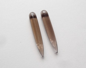 Smoky Quartz Smooth Long Half drilled Spike Icicle Drops 6x35 mm One pair K6877