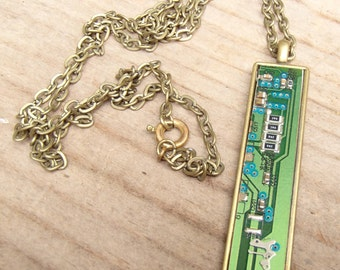 Pendant Necklace. REcycled Green & Blue Circuit Board. Lovely! Salvaged from Old Computer Circuit Board. Chain included. FREE SHIP in U.S.!