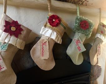 Handmade Personalized Burlap Christmas Stocking