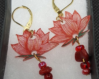 Handmade Red Lotus Earrings