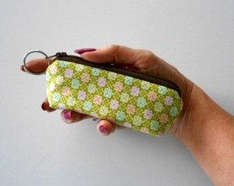 Small Coin Purse Mini Key Ring Zipper Pouch ECO Friendly Padded Lip Balm Holder Case Zippered Pouch NEW Honey Green