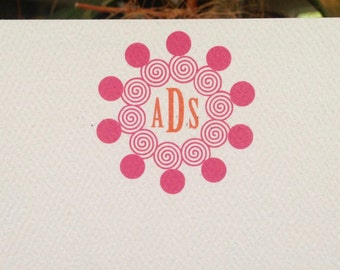 Custom Stationery with a Monogram. Note Card with Initials. Valentines Day Gift