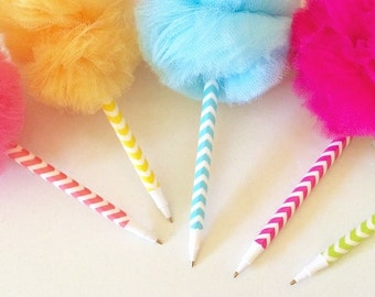 Pom Pens, Chevron Pens, 5 Pc Set, Party Supplies, Favors, Gifts