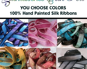 Silk Ribbon, 10 Ribbons, You Choose Hand Dyed Silk Ribbons, Wholesale Silk Ribbons, Silk Bracelet, Quintessence, You Choose 10 Ribbons