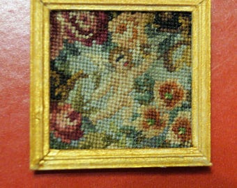Dollhouse Miniature Framed Micro Petit Point: Putto and Roses