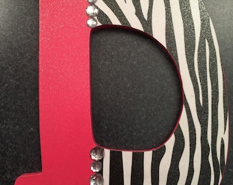 Pink and zebra letter D