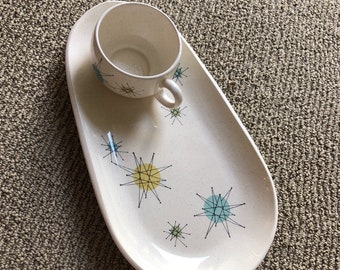 Franciscan Starburst 1950s Complete Snack Set - Snack Plate with Cup