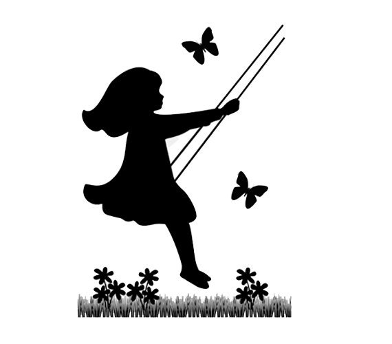 Silhouette Children Mural Decal Vintage Swinging Wall Art