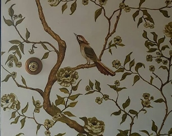 Chinoiserie inspired mural,hand painted wallpaper,hand painted mural,original wallpaper art, chinoiserie wallpaper,bird wallpaper,tree paper