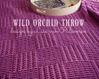Download Now - CROCHET PATTERN Wild Orchid Throw - Make to Any Size - Pattern PDF
