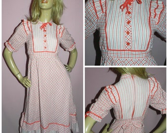 Vintage 70s Red White Blue Check Stripe PRAIRIE REVIVAL Day dress 8 S 1970s Kitsch Folk Peasant