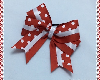 Red and White and White Satin Ladder Ribbon in the Middle with a White Glitter Center Hairbow
