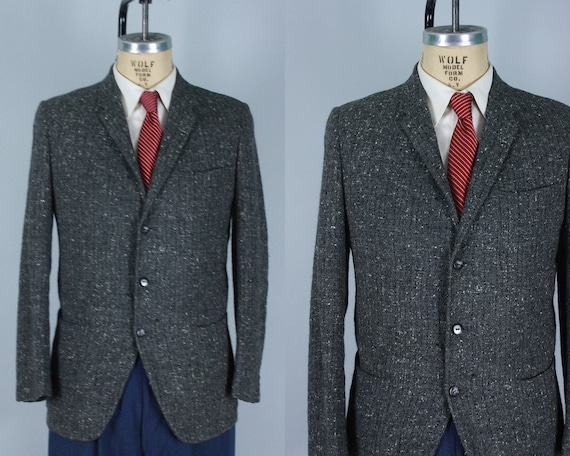 Hipster Vintage Elvis Style 1950's Flecked Wool Sport Coat, 42