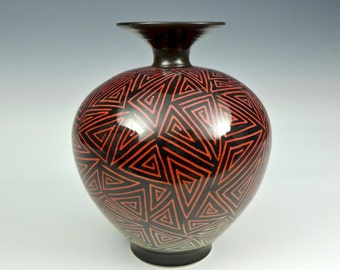 Red to Yellow Ombre Porcelain Sgraffito Bottle