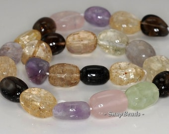 19x13-14x13mm Amethyst Citrine Prehnite Rose Smoky Lemon Mix Quartz Gemstone Nugget Loose Beads 7 inch Half Strand (90191080-B36-570)