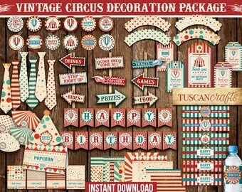 Vintage Circus party pack  INSTANT DOWNLOAD  Vintage Carnival Party pack   Circus party kit   Carnival party kit   PRINTABLE   Circus set