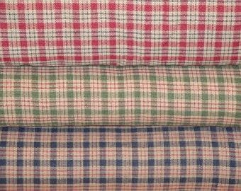 Homespun Fabric l Quilt Fabric   Cotton Fabric   Plaid Fabric   Country Cupboard Mini Plaid Fabric   Bundle Of 3 Fat Quarters