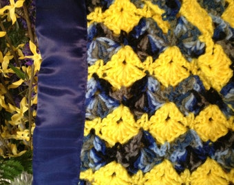 Crochet Afghan handmade blanket, Bedding Blanket, Heirloom Afghan, Lap blanket, Throw Home Decor, Birthday Gift, yellow and shades of blue