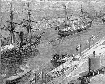 Suez Canal Grand Opening 1892 Vintage Victorian Natural History Maritime Engineering Print To Frame Black & White