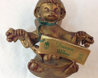 "Angel Ornament Made in Italy Authentic Reproduction of Fontanini Sculpture Hand Painted 3.5"" Tall 3.25"" Wide Previously 24 Dollars ON SALE"