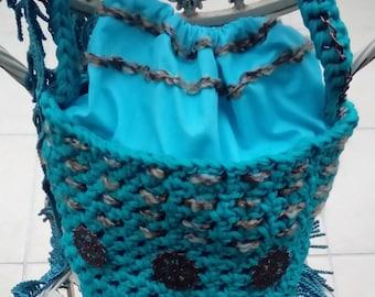 Handbag teal blue jersey bucket bag; handmade, shoulder bag, vintage crochet bag, bucket bag, gift for her, original, unique, one-of-a-kind