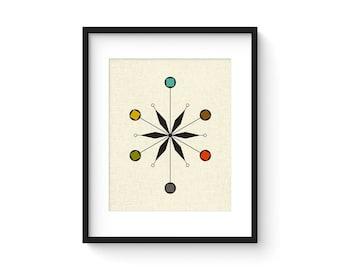 STAR - 8x10 Version - Giclee Print - Mid Century Modern Danish Modern Minimalist Cubist Modernist Abstract Eames