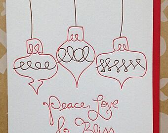 Hand Lettered Holiday Cards - Letterpress holiday cards - Set of 6 Chrismtas Cards  - Peace Cards / DeLuce Design
