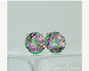 MothersDaySale Rainbow Mystic Topaz Stud Earrings 6mm Round 1.70ctw Sterling Silver
