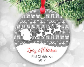 Baby's First Christmas Ornament, Baby Ornament, Baby First Ornament, Baby Girl Gift, Baby Girl Christmas Gift Reindeer Ornament Santa Sleigh