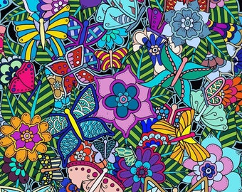 Flowers and Butterflies Digital Download Coloring Page