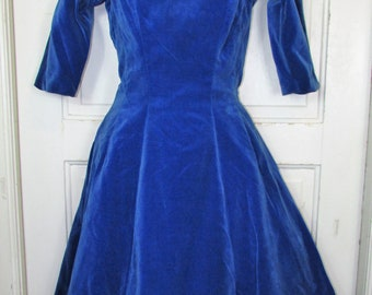 50s Velvet Party Dress Vintage 1940-50's GIGI Young Saks Fifth Avenue Full Swing Sweep Bombshell Pin-Up Gown S