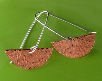 Copper and Silver Half Circle Textured Earrings-Handmade