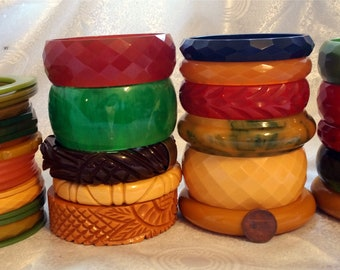 35 Bakelite Bangles Bakelite Bracelets Bakelite Lot Wide Carved Bakelite Spacers Multi Colors Faceted Prystal Opaque 18 Bangles 17 Spacers
