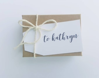 ADD-ON Personalized Name Tags- White/Kraft Boxes