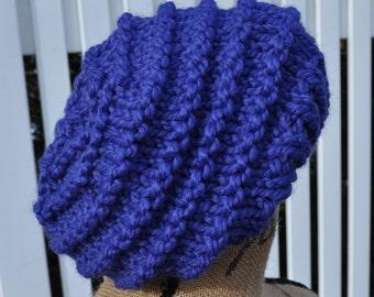 Chunky Blue Hat - Womens Slouchy Knit Winter Hat - Ladies Warm Tam - Stocking Cap - Beanie - Cobalt Blue