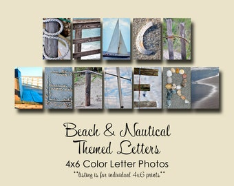 Beach & Nautical Letter Photos ,  Individual 4x6 Color Letters, Alphabet Photography, Beach letters and photos, beach photography