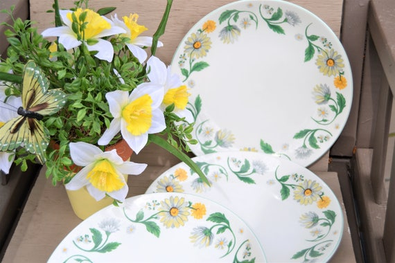 & DAISY GARDEN DISHES Set of Three Large Dinner Plates Yellow