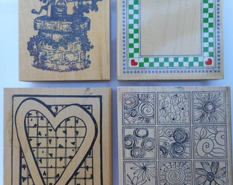 Four Large Rubber Stamps, Free Shipping