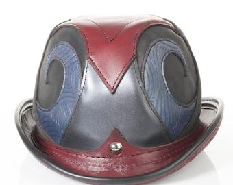 "Rapscallion Leather Bowler | 23"" Head | Size 7 3/8 | Blue , Burgundy , Black , Grey | Circus Bowler | Steampunk Hat | Chaplin Hat | IN STOCK"