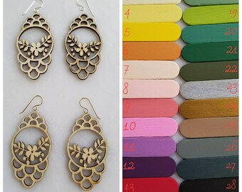 Scallop Floral Custom Painted Earring, wedding, bridesmaid, laser cut