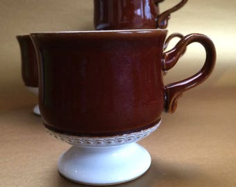 4 x Denby Castile Brown and White Ceramic Coffee Cups Mugs England