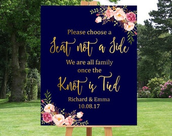 Gold Navy Boho Choose a Seat Not a Side Printable Sign, Personalised Pink Floral Seating Sign, Boho Wedding Ceremony Sign Download 110-NG