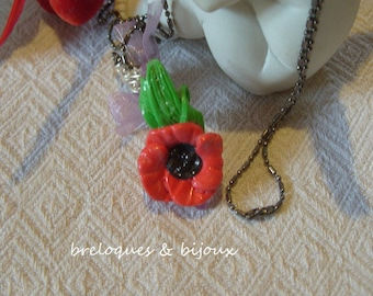 NECKLACE fancy poppy pretty little poppy polymer on shoe purple transparent resin and purple organza bow