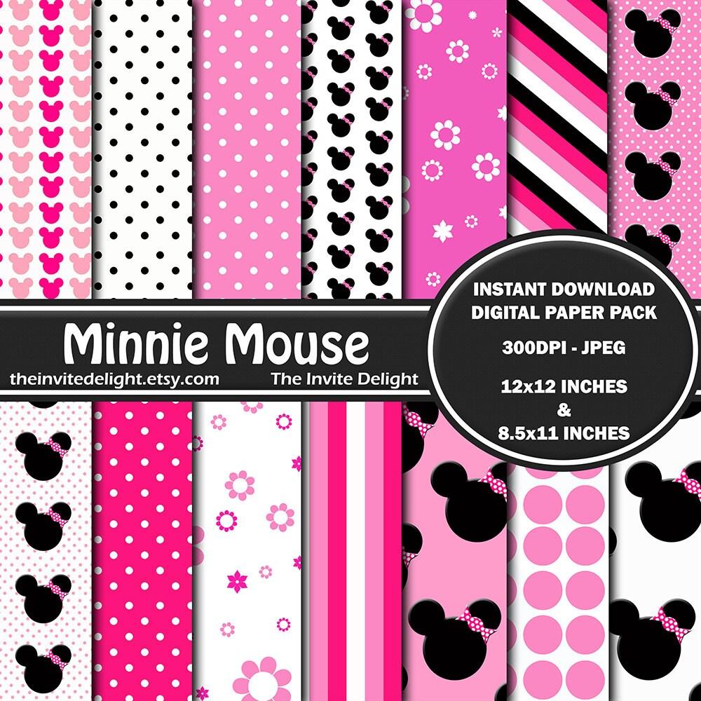 Minnie Mouse Digital Paper Pack Pink Polka Dots Minnie