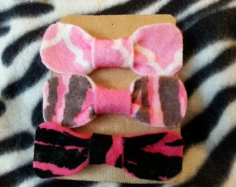 Set of 3 small stylish hair bow clips