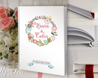 Wedding Guest Book Wedding Guestbook Custom Guest Book Rustic Wedding Floral Personalized Customized Rustic Bohemian Floral Keepsake Wreath