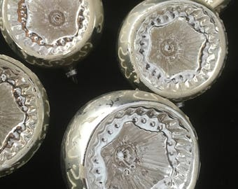 Set of 8 Large Fancy Silver White Mica Indent Glass Christmas Ornaments