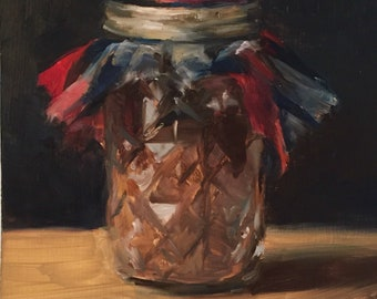 Oil Painting Jar of Hot Chocolate Cocoa Still Life