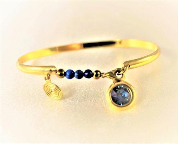 bracelet jonc plaqué or 24 carats bleu avec  pierres fines et  cabochon swarovski