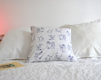 Printed cushion inspired by blue Toile de Jouy